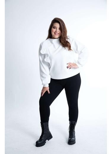 Luokk Pılar Dik Yaka Volan Detaylı Kadın Sweatshirt Beyaz